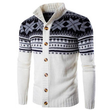 MORUANCLE New Men's Winter Christmas Sweaters Fashion Casual Xmas Knitted Cardigans For Man Knitwear Stand Collar Size M-XXL
