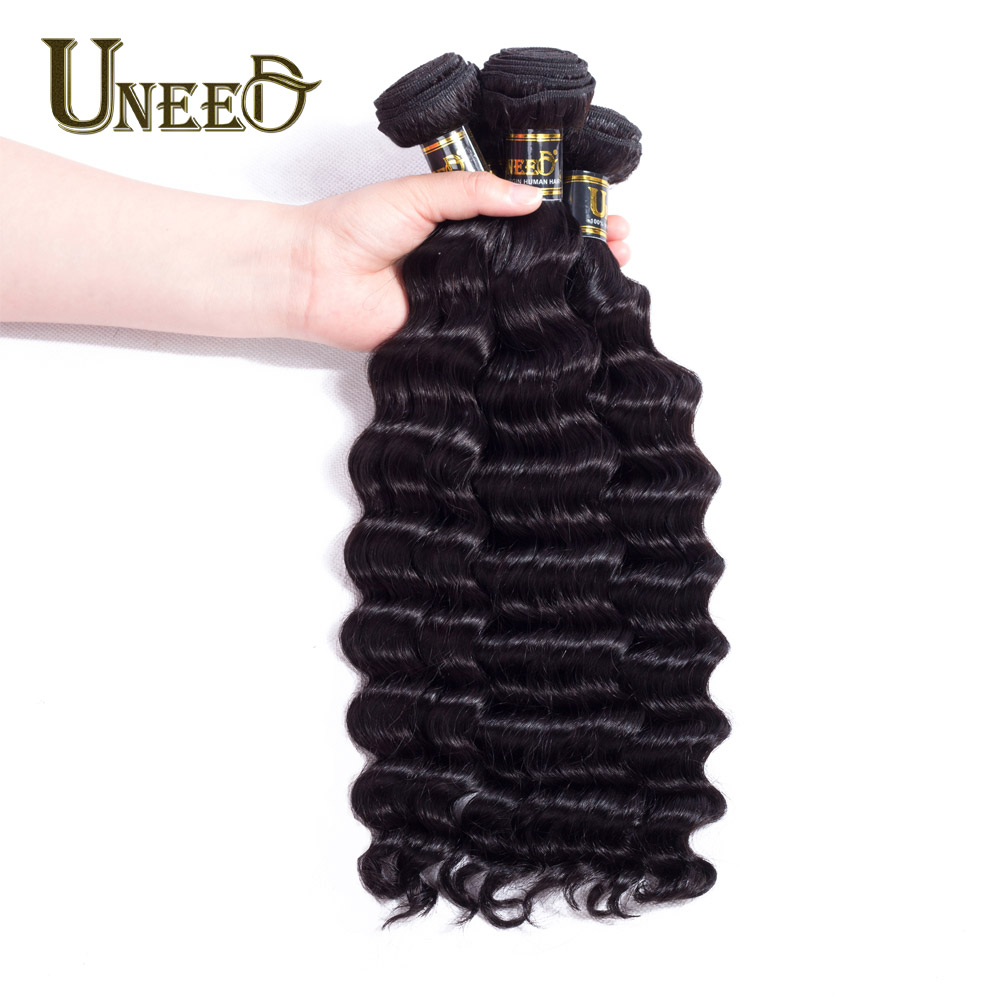 Uneed Hair Indian Loose Deep Wave Hair 3 Bundles 100% Human Hair Weave Extensions Natural Black Color 8-26inch Remy Hair Weaving