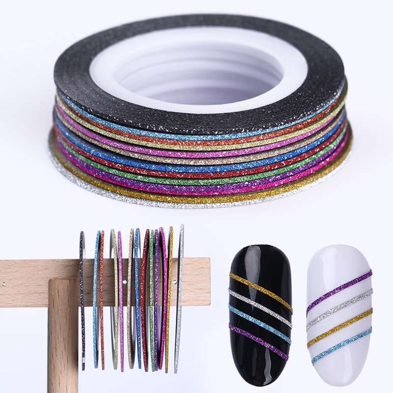 13 Rolls Matte Glitter Nail Striping Tape Line 1mm Multi-color Adhesive Transfer Stickers Nail Art Decoration DIY UV Gel Polish 10pcs pack 2mm mix colors rolls metallic adhesive striping tape wide line diy nail art tips strip sticker decal decoration kit