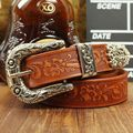 3.3cm Vintage emboss flower belt Handmade cowboy belt genuine leather pin buckle strap chunk buckle male cowhide trousers belt