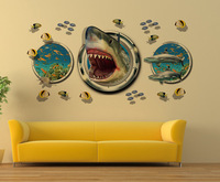 Latest Amazing 3D Shark Wall Stickers Home Decor For Guys Room Adventure Wallpaper Decal Removable Mural
