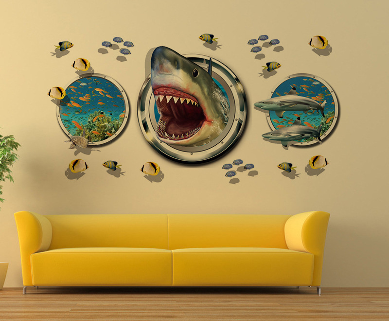 ᗗLatest Amazing 3D Shark Wall Stickers Home Decor for Guys Room ...