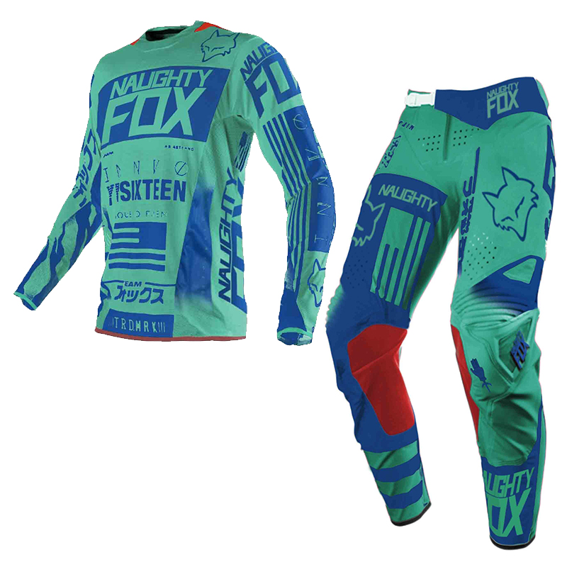 2017 NAUGHTY 180 Cross Country Motorcycle Racing Jersey+Pants Mountain Dirt Bike Racing Combo Kits MTB DH MX Off-Road Set scoyco professional motorcycle dirt bike mtb dh mx riding trousers motocross off road racing hip pads pants breathable clothing