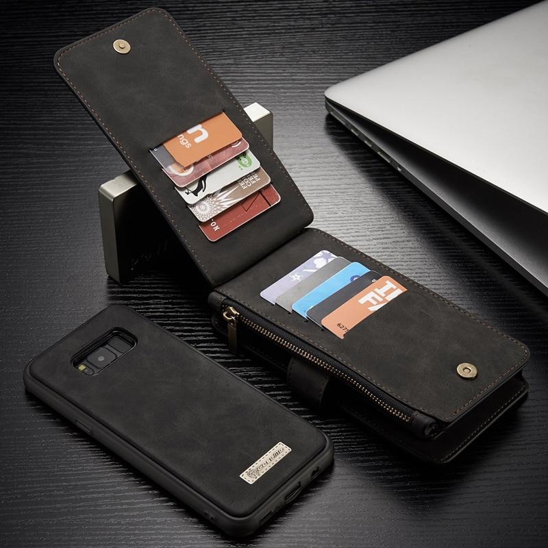 imágenes para Para Galaxy Plus S8 S8 Caseme de Lujo Genuino Cubierta de Cuero Magnética cremallera Bolsas Del Teléfono Caso Tirón de la Carpeta para Samsung Galaxy S8 Más