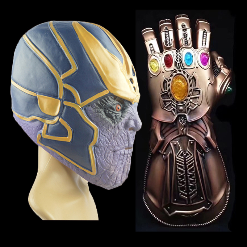 Guardians of the Galaxy Thanos Mask Avengers Infinity Gloves Cosplay Superhero Prop Hard Latex Helmet Action Toys Gift #E