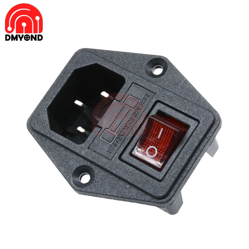 AC <font><b>250V</b></font> <font><b>10A</b></font> Black Red 3-Pin Terminal Power Socket with Fuse Holder Rocker Switch <font><b>3pin</b></font> 3p 3 pin 3 Terminal image