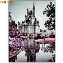 Peter ren Diy Diamond Painting fashion embroidery Full square mosaic pictures of rhinestones Building and Castle