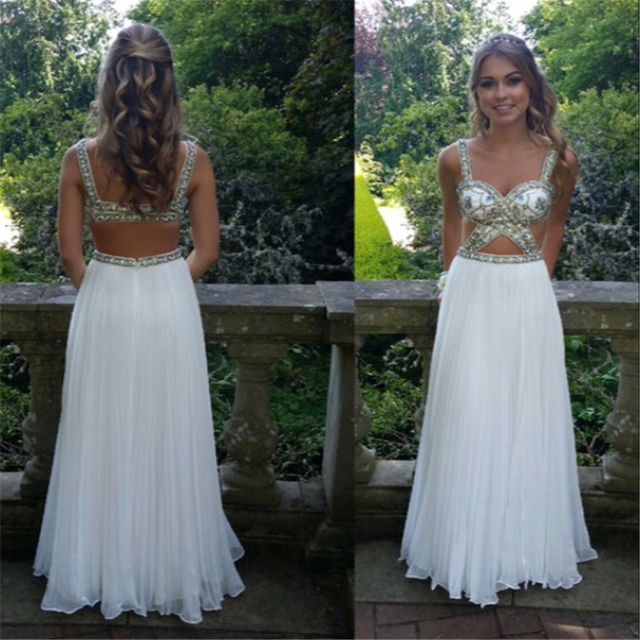 Custom Made New Arrival Sexy Long Elegant Backless White Gold Prom