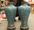 wholesale factory Folk China purple bronze cloisonne palace 100 fly crane Statue Pot vase pair