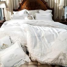 Французский стиль белый романтический кружева край роскошный принцессы из египетского хлопка постельных принадлежностей пододеяльник постельное белье лист наволочки