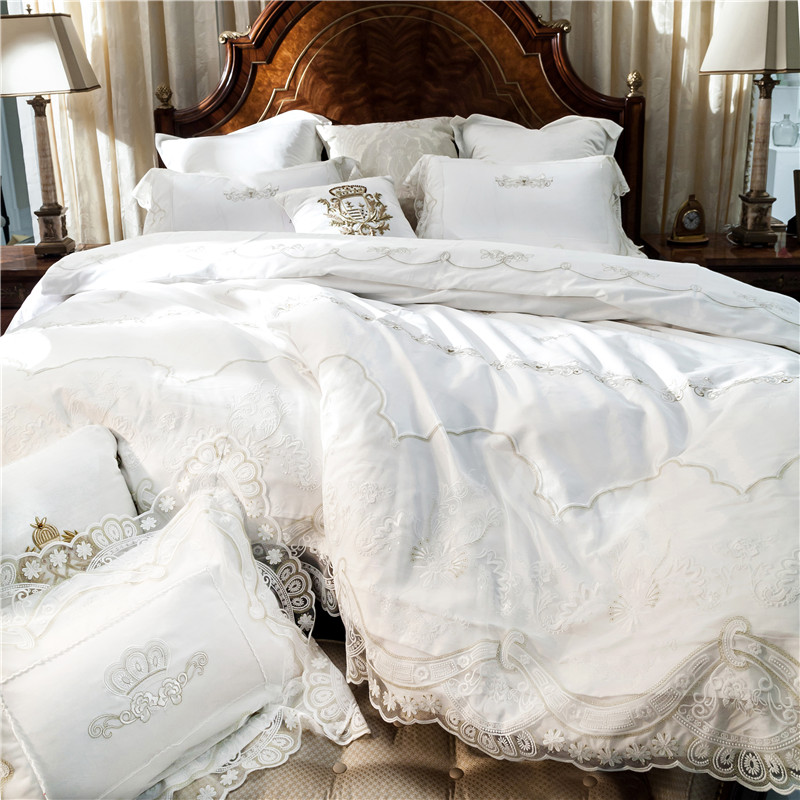 Style français blanc romantique dentelle bord de luxe princesse coton égyptien ensemble de literie housse de couette linge de lit draps taies d'oreiller