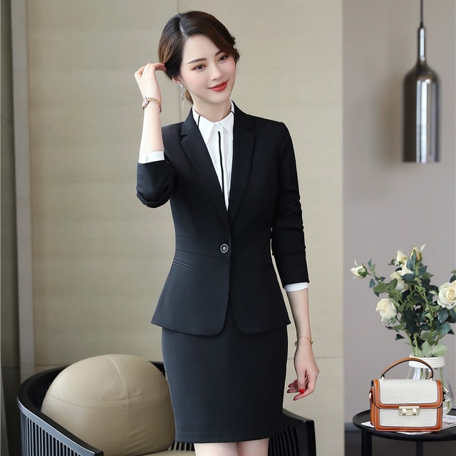 bc00b58e26c43 2019 Professional Business Suits Women Work Wear With Tops And Skirt Ladies  Office Blazers & Jackets Sets Spring Autumn