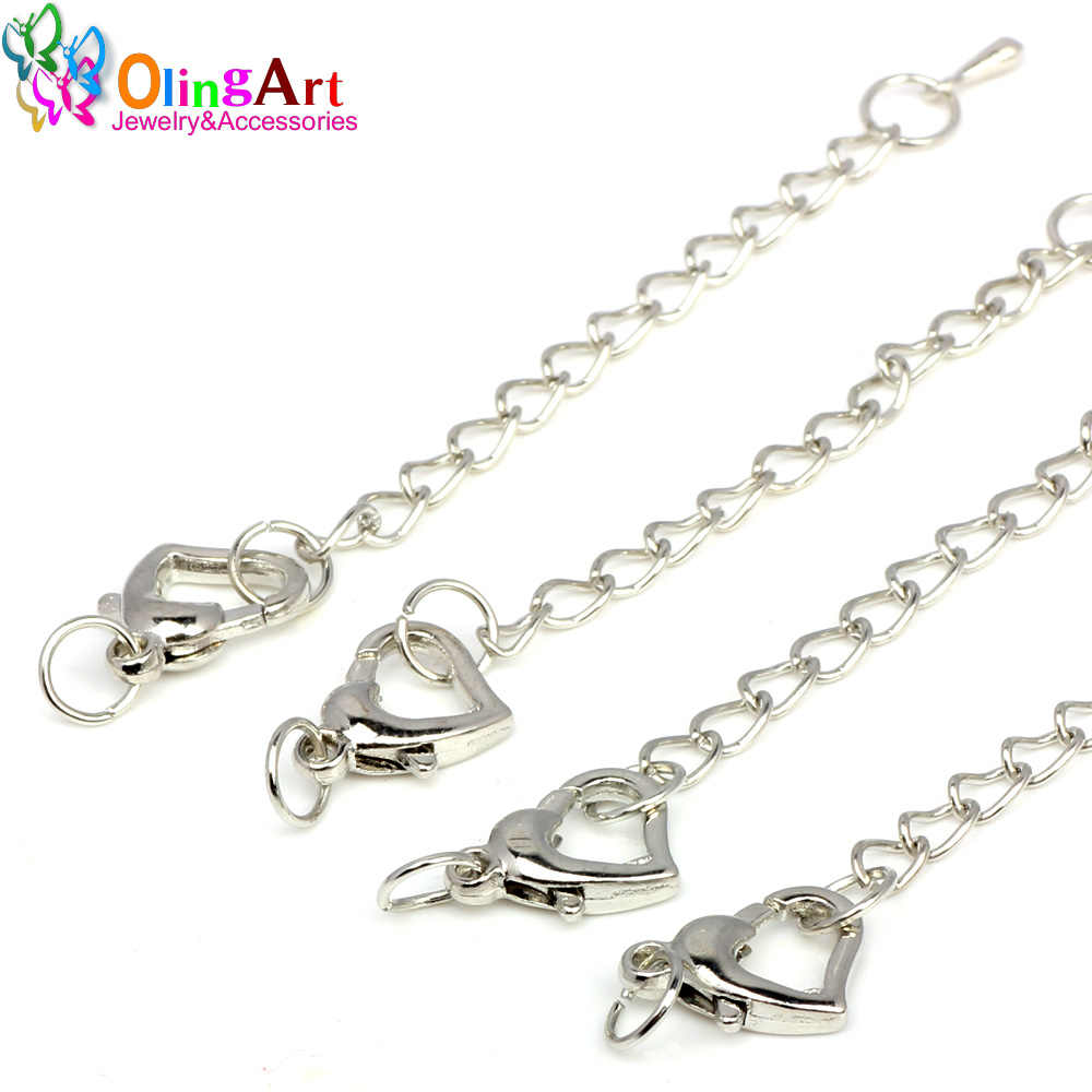 OlingArt 80MM 6pcs/lot Peach heart Silver/Gold plating DIY necklace bracelet crimp ends extended chains tails clasp making NEW