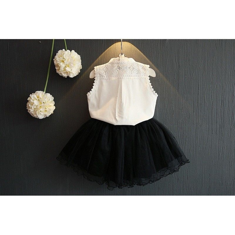 Very Fashion Toddler Kids Girls White Lace Tops Shirt Tulle Skirt  BL45