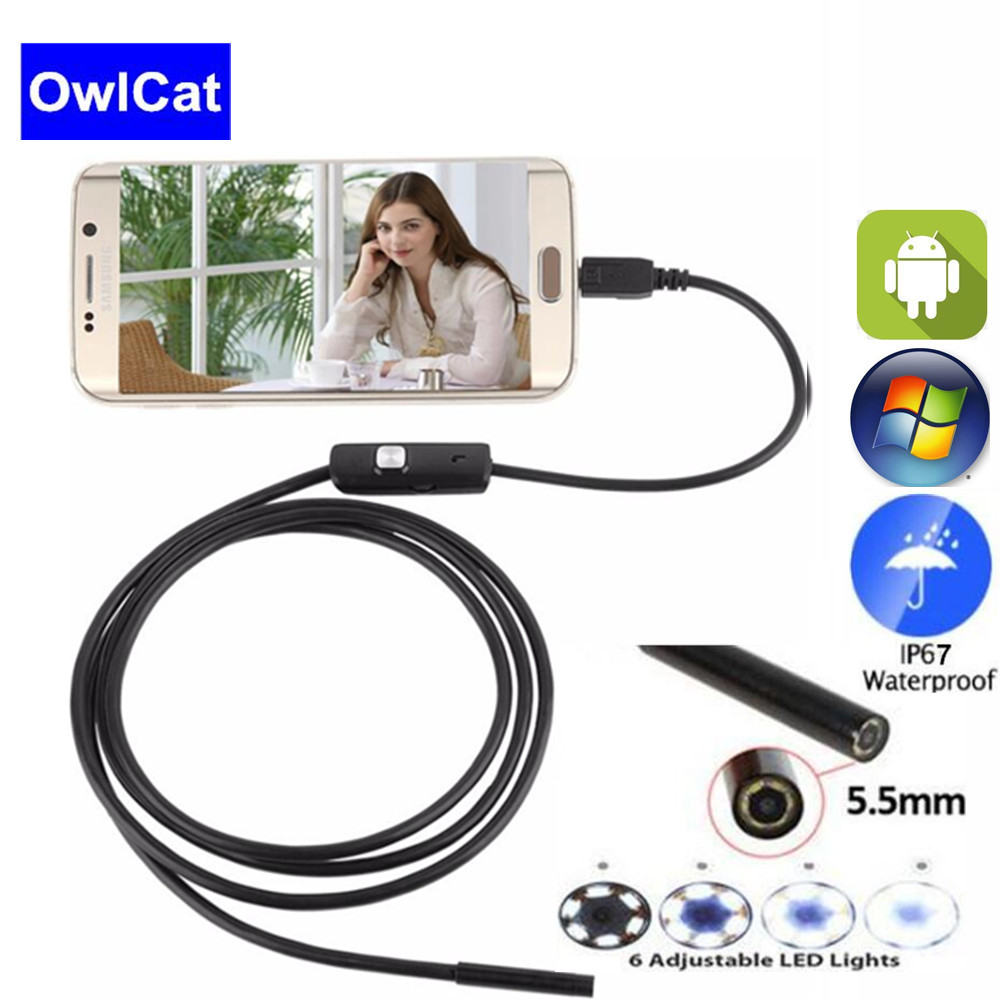 OwlCat 5mm Lens 2M 720P Android PC Mini USB Endoscope Camera Flexible Snake USB Pipe Inspection Android Phone Borescope Camera image