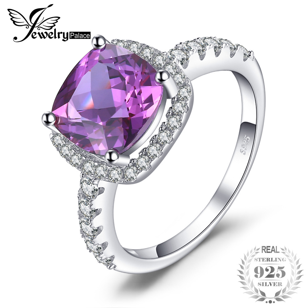SmyckenPalace Luxury 5.35ct Kudde Cut Skapad Alexandrite Sapphire Wedding Engagement Rings 925 Sterling Silver Fine Smycken
