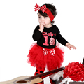 Moda Roupas de Bebê Menina manga Longa Bodysuit Joaninha Impressão Plissado Tutu Saia de Bolinhas Leg Warmer 3 Pcs Roupas Headband do conjunto