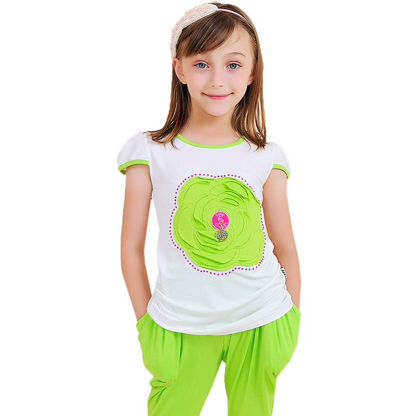 Kids Clothes Girls Clothing Sets Summer Flower Girls T ...