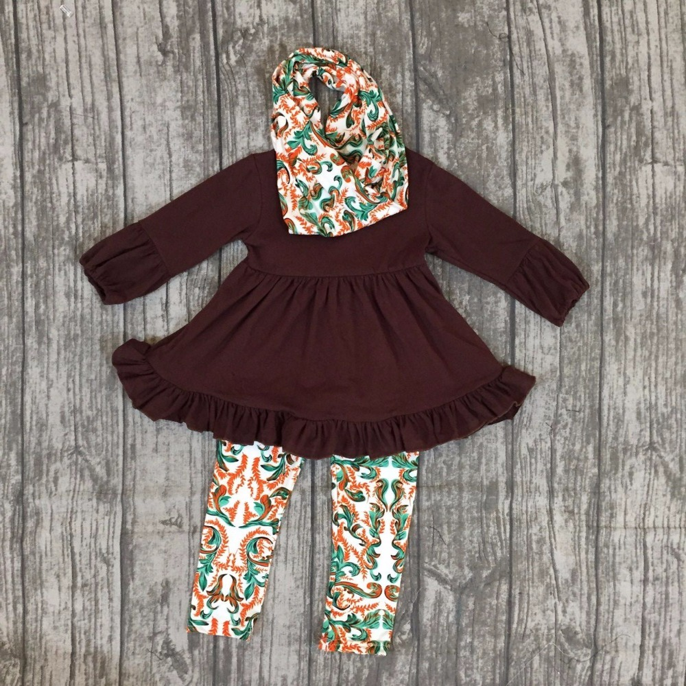 FALL/Winter baby girls outfits 3pieces scarf brown top Aztec ruffle long sleeve pant boutique children cotton clothes kids wear baby golden brown pettiskirt golden ruffle brown bow white top shirt set 3 12m mapsa0289