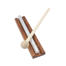 Solo Chime on Wooden Base w Mallet Single Rod for Yoga Meditation Energy Aura Bell font
