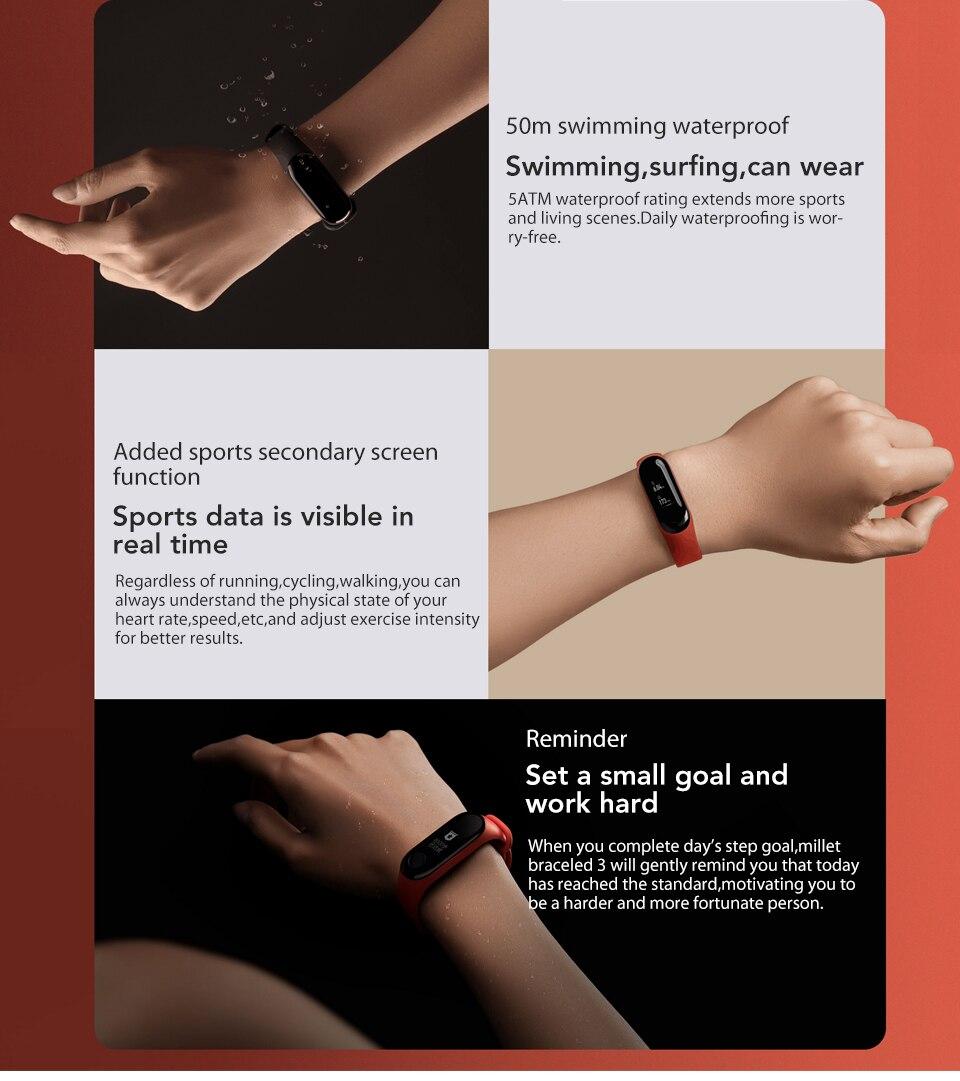 In Stock! Original Xiaomi Mi band 3 Xiomi Heart Rate Monitor Bluetooth 4.2 Xaomi Smart Sport Bracelet OLED Miband 3 Smartband  (6)