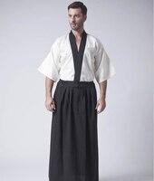 Vintage Beige Japanese Men Warrior Kimono Traditional Yukata Haori Samurai Clothing Stage Performance Costume One Size
