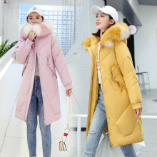 new Large Fur Down Jacket Winter Women 2019 New Fashion Loose Hooded Cotton Padded Jacket Coat Female Thick Long Parkas Outwear стоимость