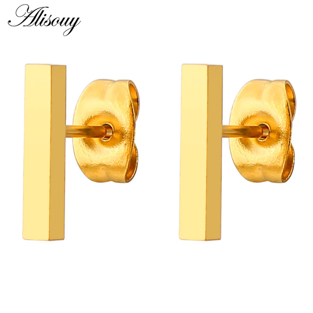 Alisouy 1pair Glossy New Design Rose Gold Color Titanium Steel Fashion Square Bar Earrings Staple Men.jpg 640x640 - Alisouy 1pair Glossy New Design Rose Gold Color Titanium Steel Fashion Square Bar Earrings Staple Men Women Ear Stud Earrings