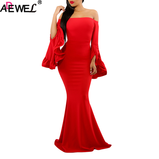 f4aaff85dc ADEWEL Elegant Off Shoulder Pleated Bell Sleeves Sexy Long Party Dresses  Long Sleeve Formal Evening Maxi