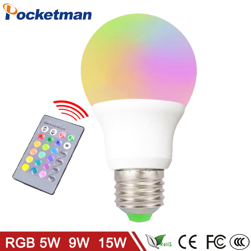 LED RGB Bulb Lamp E27 E14 AC85-265V 5W 9W  15W LED RGB Spot Blubs Light Magic Holiday RGB lighting+IR Remote Control 16 Colors jr led e27 10w 500lm led rgb light bulb w remote control white silver ac 85 265v