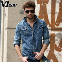 V JEAN Men's Authentic Tie-Dye Casual Denim Shirt #2A290