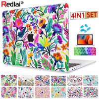 Motif de fleurs colorées Redlai pour Macbook Air 13 case Pro 13.3 15.4 pouces Retina A1706 A1707 avec Film d'écran de couverture de clavier