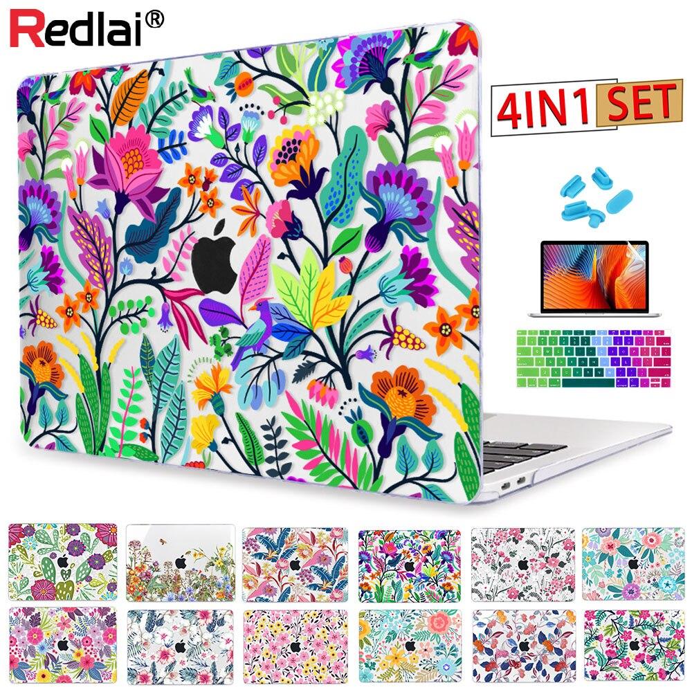 Redlai flores coloridas padrão para macbook air 13 caso pro 13.3 15.4 polegada retina a1706 a1707 com capa de teclado tela filme