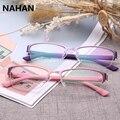 De plástico de color puro titanium montura de gafas tr90 súper ligero grado femenina gafas de marco transparente gafas de lente transparente