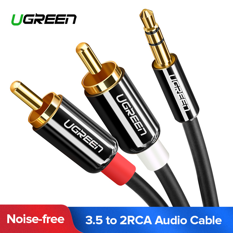 Ugreen RCA Cable 2RCA to 3.5 Audio Cable RCA 3.5mm Jack RCA AUX Cable for DJ Amplifiers Subwoofer Audio Mixer Home Theater DVD ugreen rca audio cable 2rca male to 3 5mm jack to 2 rca aux cable nylon braided splitter cable for home theater iphone headphone