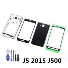For Samsung Galaxy J5 2015 J500 J500F J500H Housing Middle Frame+Battery Back Cover+Front Touch Screen Sensor+Adhesive+Tools(China)