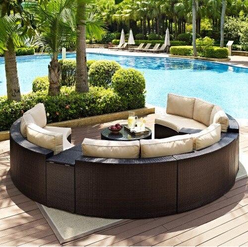 Factory Direct Outdoor Lounge Meubelen 6 Stuk Rieten Gebogen Conversation Sofa Set In