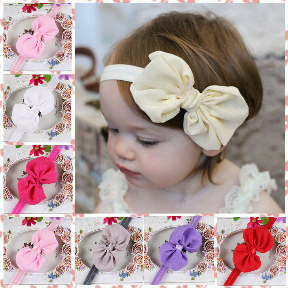 10 Colors Cute Newborn Baby Girls Headband Infant Toddler Bow-knot Elastic Hair Band Accessories