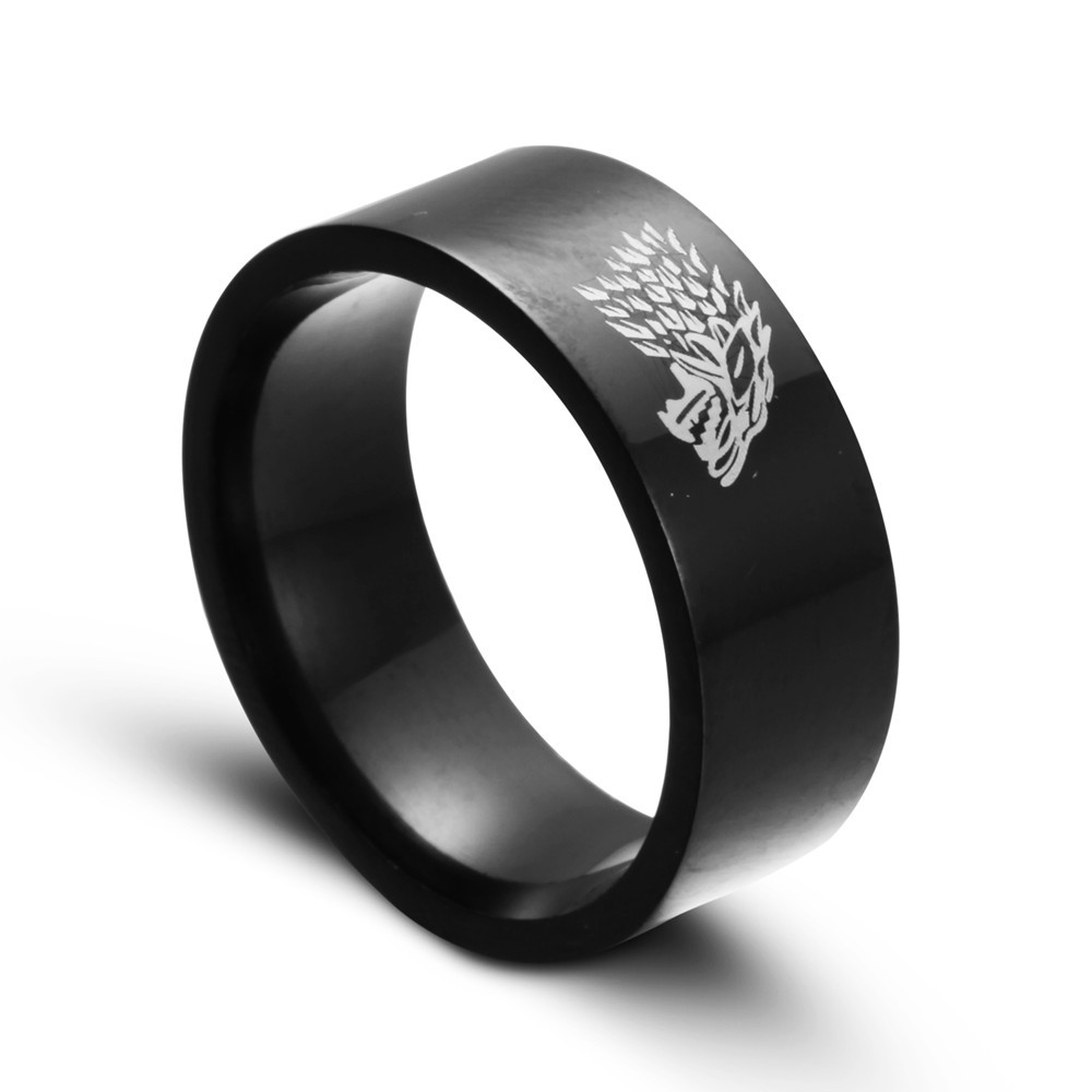 zmzy 8mm black tungsten carbide legend of zelda wolf ring fashion wedding rings for men jewelry