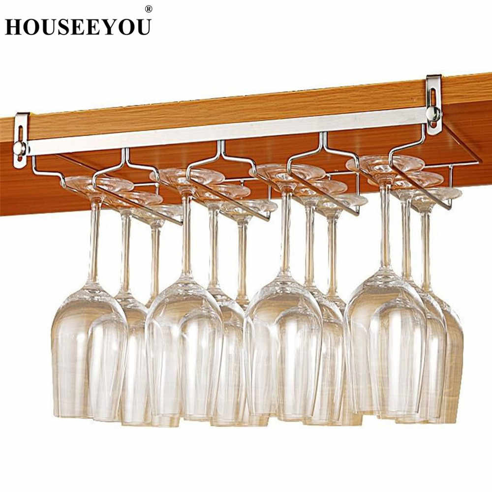 stainless steel nail free cabinet hanging red wine glass rack cup mug goblet holder shelf for home bar kitchen storage organizer