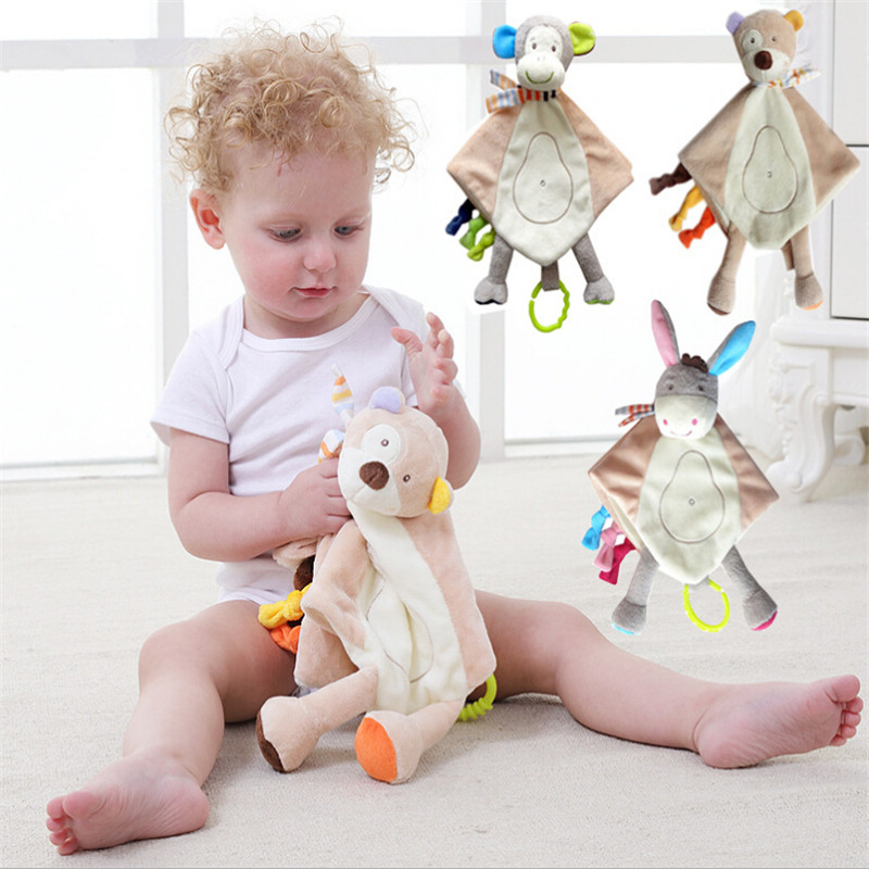 Baby Towels Toys Soothing Towel With Teether Comforter Handkerchief Baby Blankets Infant Sensory Development Plush Doll Rattles