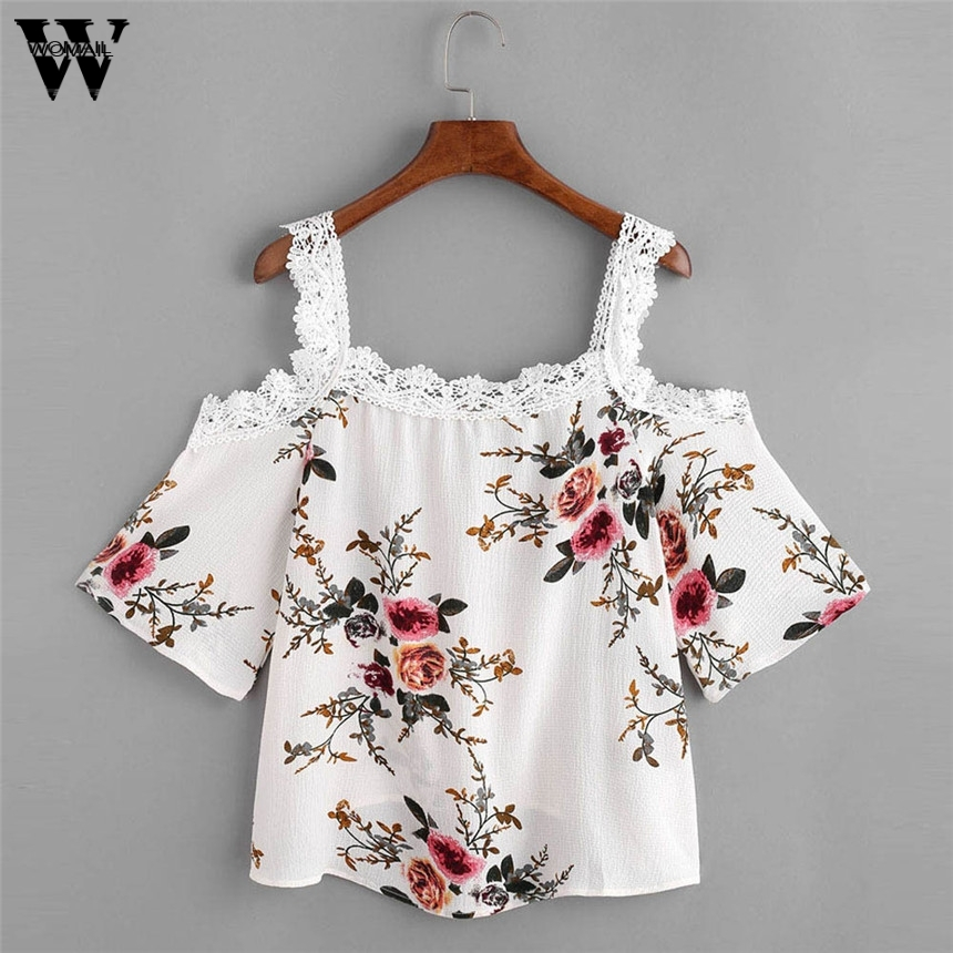 Womail 2017 Lace Vest Female Tops Women Short Sleeve Off Shoulder Lace Floral Camis Casual Tops T-Shirt Gift Drop Shipping #A30
