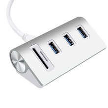Aluminum HUB Bus-Powered 3-Ports USB 3.0 Hub with 2slots Card Reader Combo for iMac MacBook Air MacBook Pro Mac SD/Micro SD card
