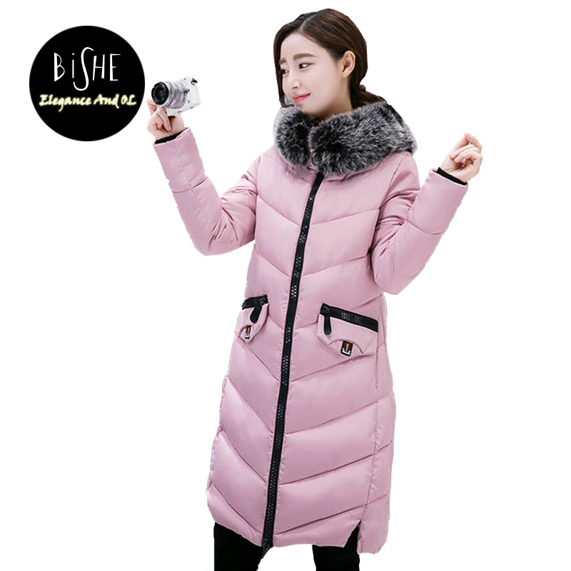 BiSHE Winter New Fashion Women'S Down Jacket Hooded Cotton Long Fur Collar Slim Women Parkas Plus Size Zipper Ladies Outwear women winter fashion warm down jacket hooded cotton long fur collar slim women thick parkas coats zipper ladies outwear parkas