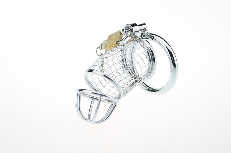 Spiral Chastity Belt 85mm Stainless Steel Male Chastity Cage Penis sleeve lock Sex Toys Metal Adult Game 2015 Hottest1
