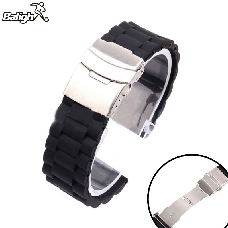 Silicone Watchband Diver Watch Band Rubber Watch Strap with Deployment Watchband Buckle Clasp 16/18/ 20/22/ 24mm стоимость