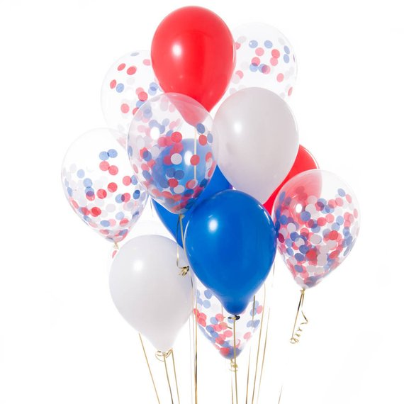 12inch Red Blue White Confetti Balloon Latex Balloons 12pcs Bouquet Anniversaire Decoration Air Baloon Theme Party Decor Baloes in Ballons Accessories from Home Garden