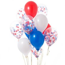 12inch Red Blue White Confetti Balloon Latex Balloons 12pcs Bouquet Anniversaire Decoration Air Baloon Theme Party Decor Baloes