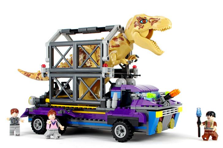 Jurassic Park TS8001 Tyrannosaurus Rex Tracker Jurassic Dinosaur World Hunting Car Building Block 410pcs Bricks Toys Gift 37 cm tyrannosaurus rex with platform dinosaur mouth can open and close classic toys for boys animal model without retail box
