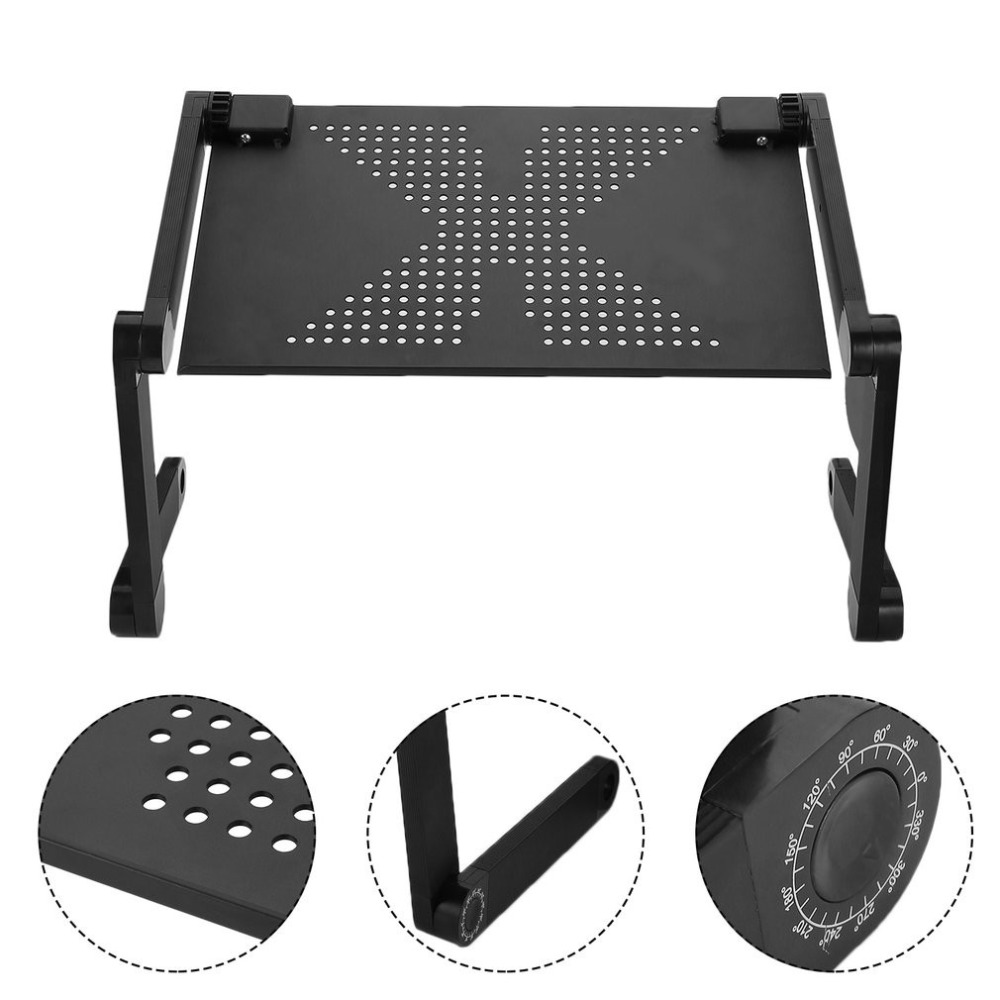 Portable 360 Degree Adjustable Laptop Notebook Table Stand Tray Lazy Foldable Aluminum Alloy Computer Desk Drop Ship